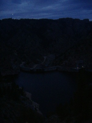 Seminoe Dam at dusk, Miracle Mile is downstream from dam.