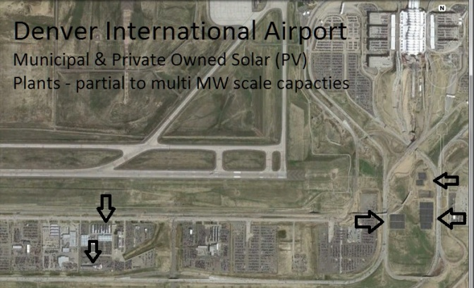 The City & County of Denver, owner of DIA, one of the largest by area airports in the world, have invested in large single axis PV farms.  They continue to expand.  Neighboring business have likewise installed PV systems as noted by arrows.