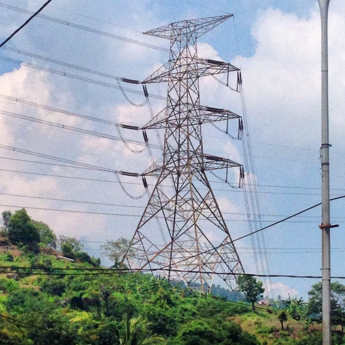 One of many transmission towers from Indonesia's Coal fired plants on the western end of Java, running towards Jakarta to the east.